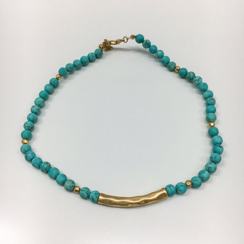 Aquamarine & Gold Bead Chocker