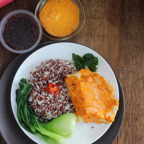 Lunch 1st August (Monday) - Grilled Thai Red Curry Fish with Wild Rice, Siew Pak Choy and Carrot Strings