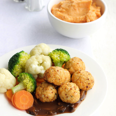 Lunch 5th August (Friday) - Baked Chicken Meatballs with Chunky Sweet Potato Mash and Mushroom Sauce
