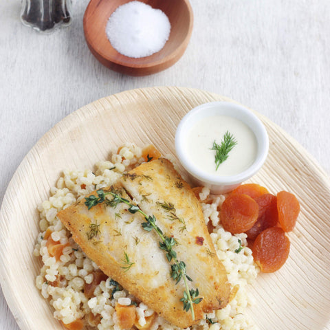 Lunch 4th August (Thursday) - Grilled Perch Fillet with Apricot and Herb Barley with Market Vegetables