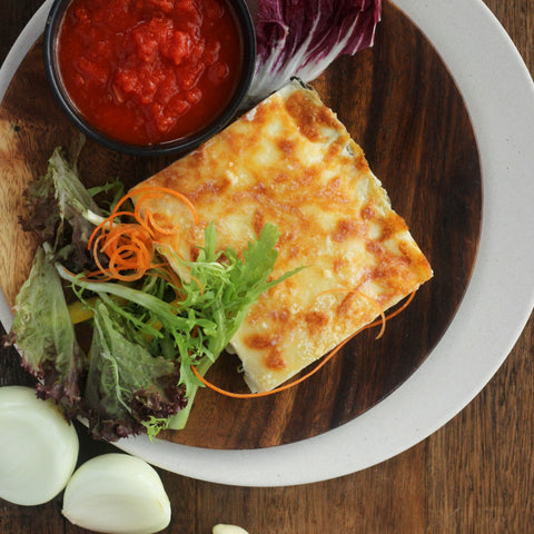 Lunch 5th August (Friday) - Vegetarian - Spinach and Mushroom Lasagne with Tomato Coulis