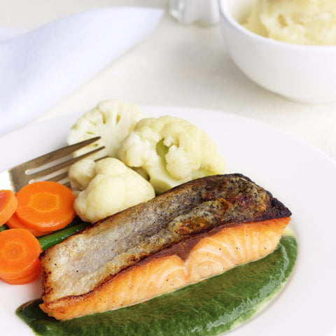 Lunch 2nd August (Tuesday) - Baked Salmon with Pesto Dressing and Chunky Mashed Potato