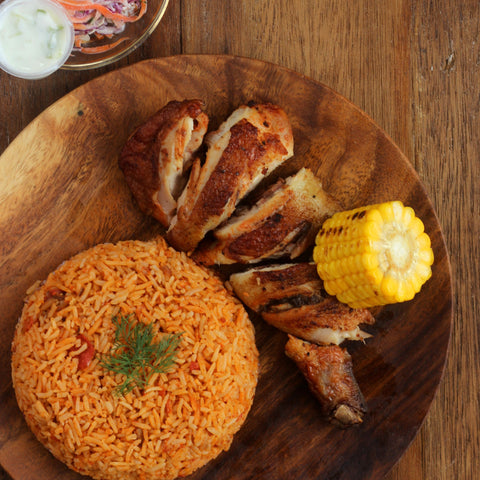 Lunch 3rd August (Wednesday) - Peri Peri Chicken Leg with Tomato Pilaf Rice and Corn on The Cob