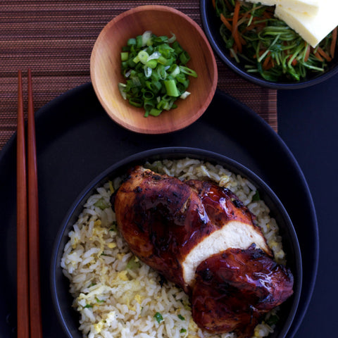 Lunch 4th August (Thursday) - Teriyaki Chicken with Japanese Garlic Fried Rice and Sautéed Pea Sprout and Mushroom