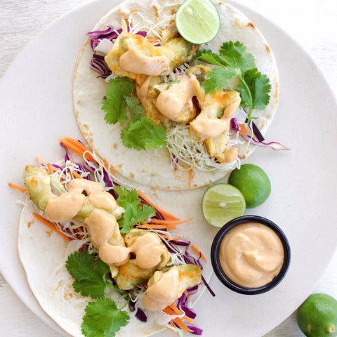 Lunch 1st August (Monday) - Vegetarian - Fried Avocado Taco with Chipotle Mayo