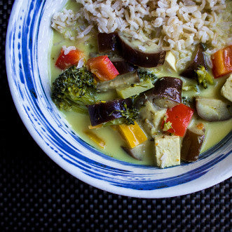 Lunch 3rd August (Wednesday) - Vegetarian - Thai Green Curry with Eggplant, Bell Pepper and Brown Rice