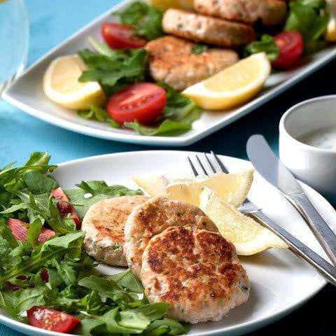 Lunch 5th August (Friday) - Thai Salmon Fishcakes with Lemongrass Brown Rice and Sweet Chili Dip