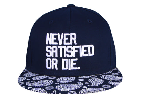 Never Satisfied Or Die Snapback Bandana Brim