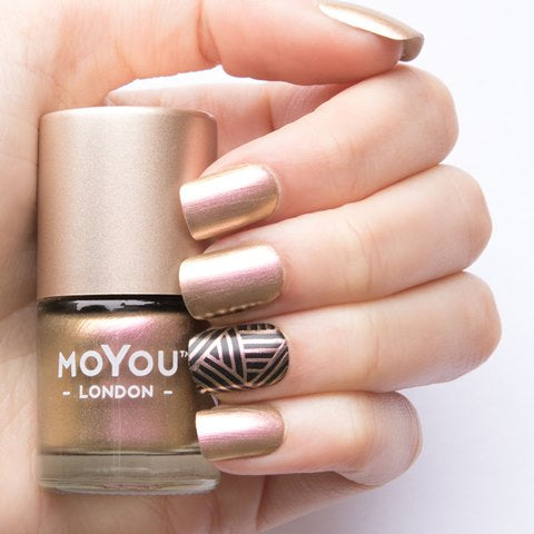 MoYou London -  Lady  Gold Pink MN005 לק חותמות