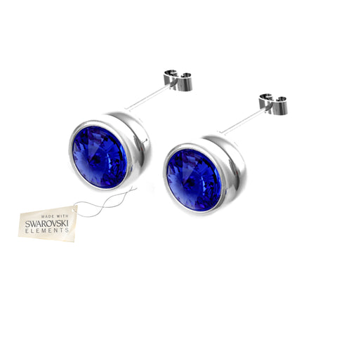Earrings with Blue Sapphire crystal discs made with Swarovski® crystals