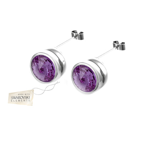 Earrings with Violet crystal discs made with Swarovski® crystals