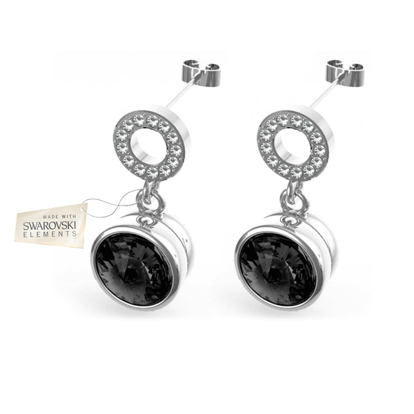 Earrings with Black crystal discs made with Swarovski® crystals