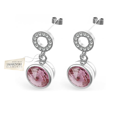 Earrings with Light Pink crystal discs made with Swarovski® crystals