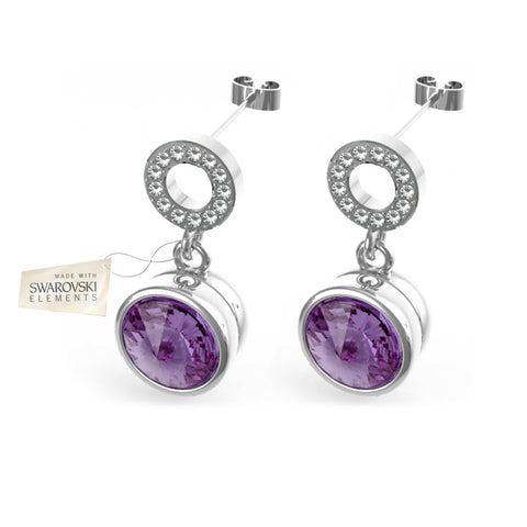 Earrings with Violet crystals discs made with Swarovski® crystals