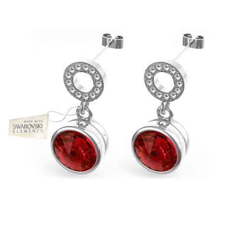 Earrings with Red Ruby crystal discs made with Swarovski® crystals