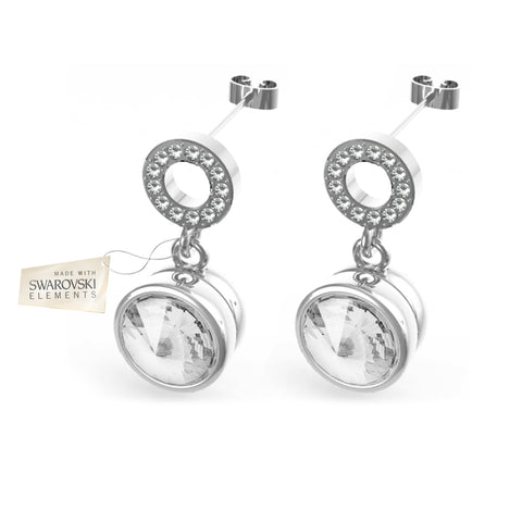 Earrings with White crystals discs made with Swarovski® crystals