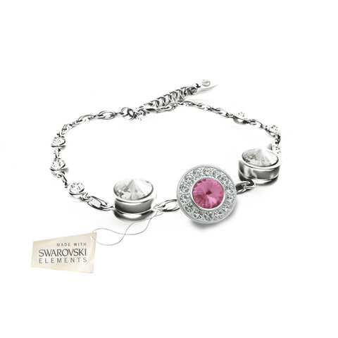Flower Bracelet with Light Pink crystal disc made with Swarovski® crystals