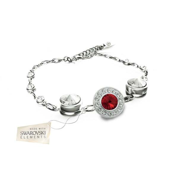 Flower Bracelet with Red Ruby crystal disc made with Swarovski® crystals