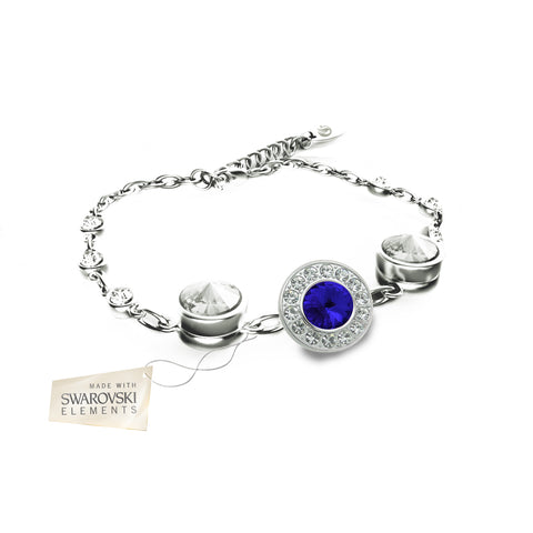 Flower Bracelet with Sapphire Blue crystal disc made with Swarovski® crystals