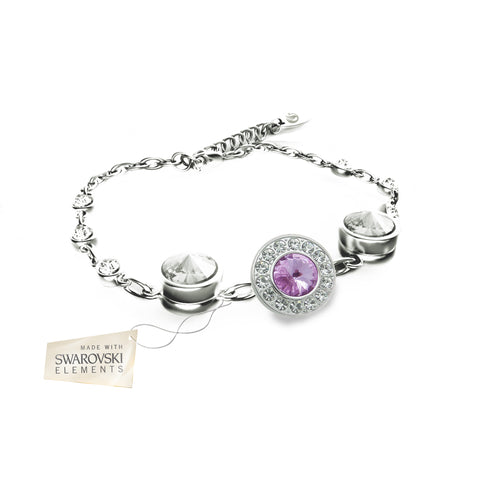 Flower Bracelet with Violet crystal disc made with Swarovski® crystals