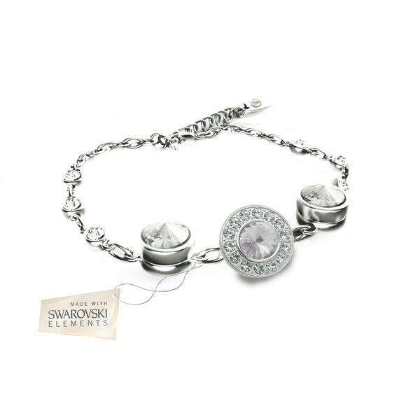 Flower Bracelet with White crystal disc made with Swarovski® crystals