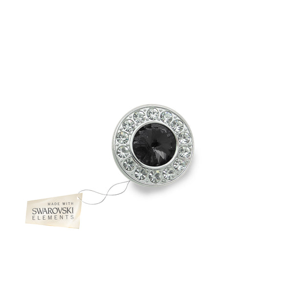 Crystal Disc Flower Black made with Swarovski® crystals