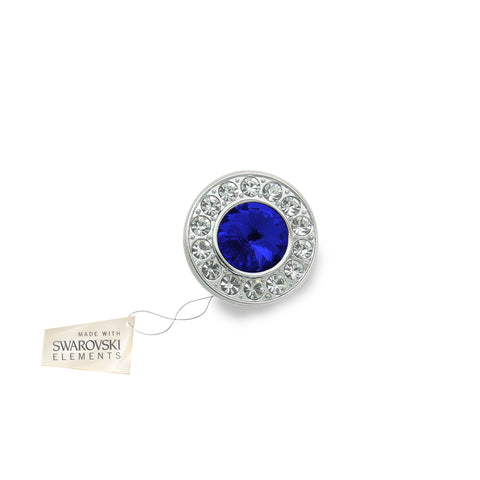 Crystal Disc Flower Blue Sapphire made with Swarovski® crystals