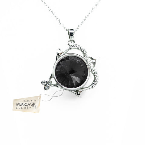 Pendant with Black crystal disc made with Swarovski® crystals