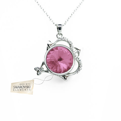 Pendant with Light Pink crystal disc made with Swarovski® crystals