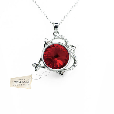 Pendant with Red Ruby crystal disc made with Swarovski® crystals