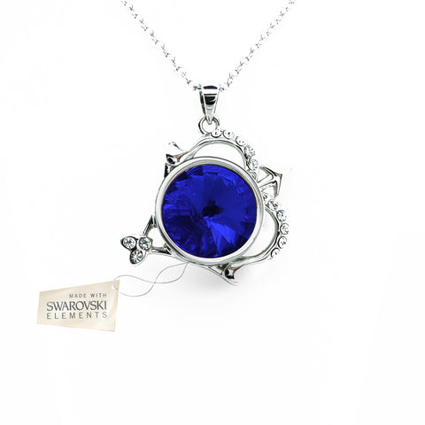 Pendant with Blue Sapphire crystal disc made with Swarovski® crystals