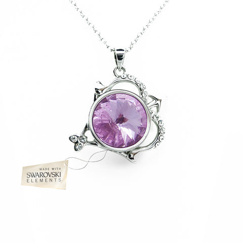Pendant with Violet crystal disc made with Swarovski® crystals