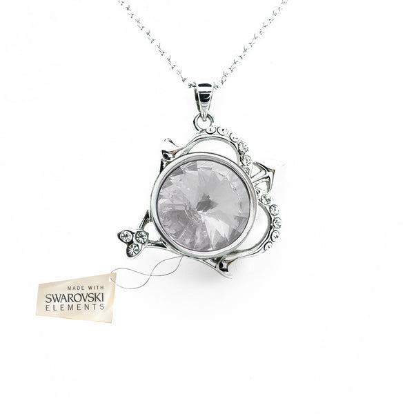 Pendant with White crystal disc made with Swarovski® crystals