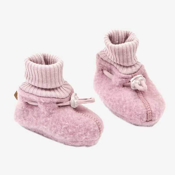 Smallstuff booties i uld - Rosa