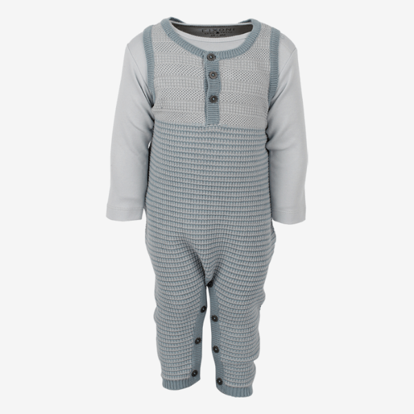 Image of   Fixoni Joy heldragt/playsuit i strik med body - Støvet lyseblå - 50