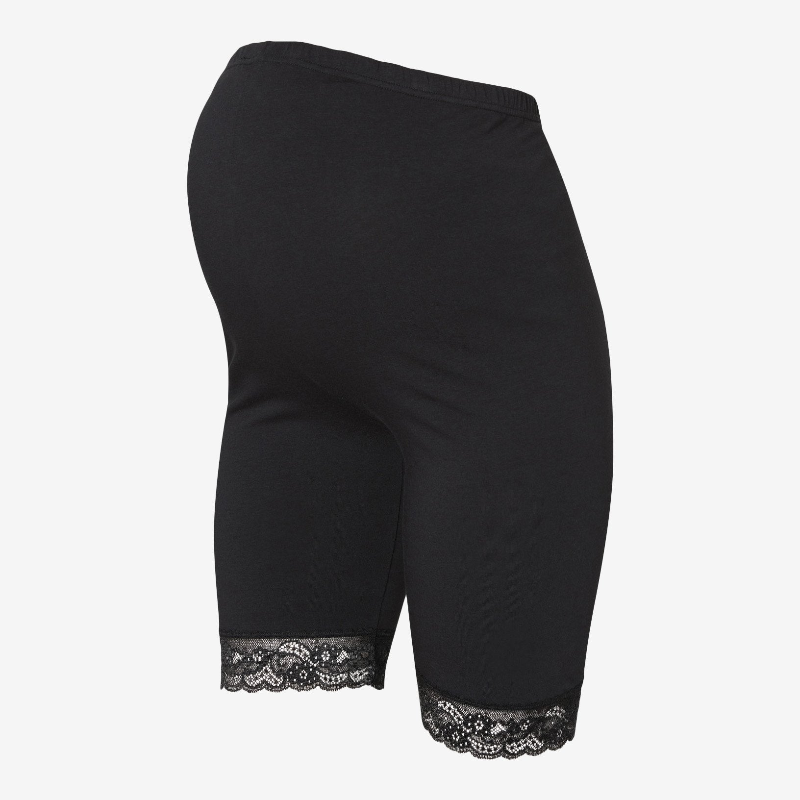 Image of   Mamalicious 2-pack korte leggings/shorts med blonder til gravide - Sort - L