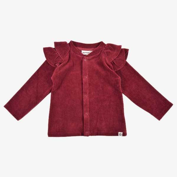Image of   PAPFAR Cardigan i velour - Bordeaux - 12 mdr.