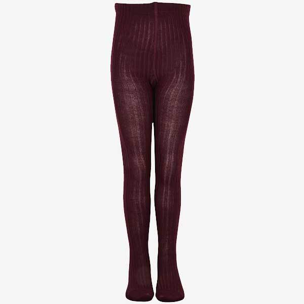 Image of   Melton strømpebukser i rib - Tights - Bordeaux - 1-2 år