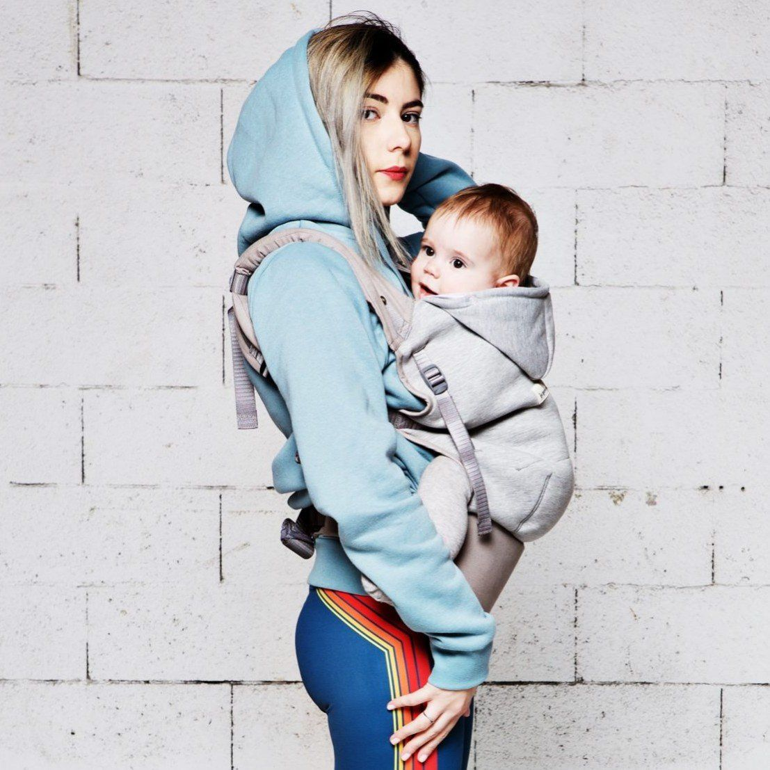 Je porte mon bebe bæresele - Hoodie carrier - Lysegrå/Athletic Grey