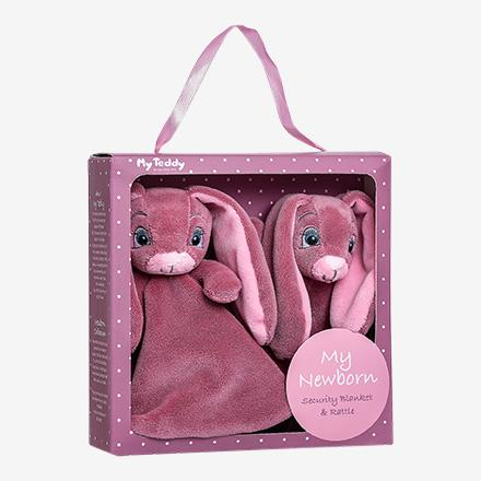 My Teddy gavebox - New born collection med nusseklud og rangle - Rosa