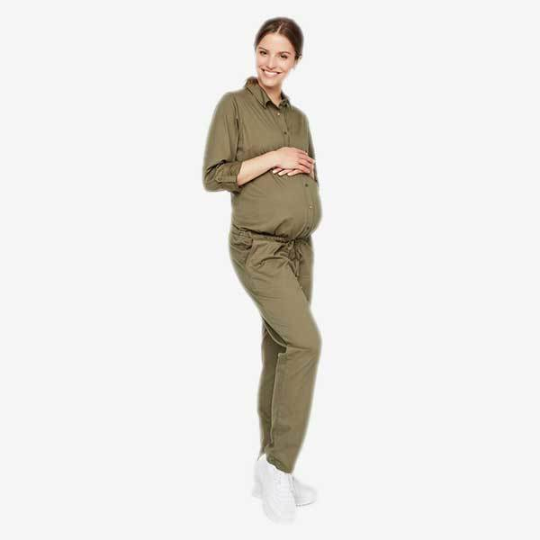 Image of   Mamalicious Awareness vente- og ammevenlig buksedragt (jumpsuit) - Armygrøn