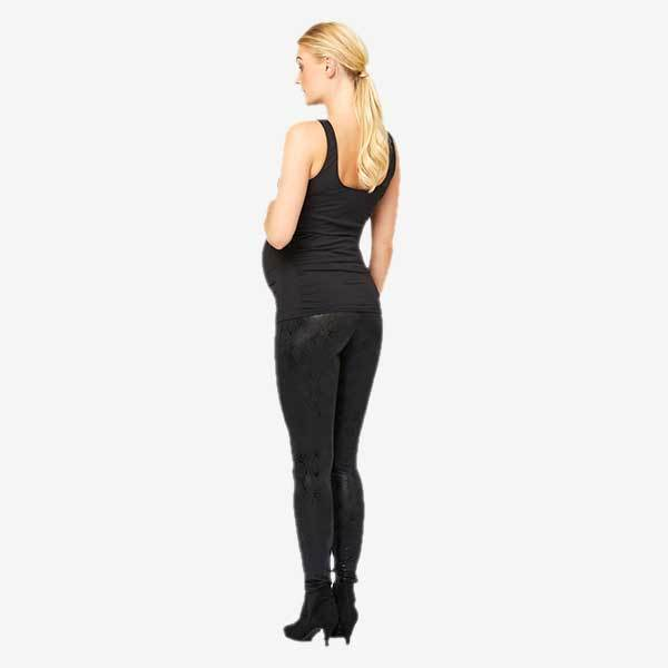 Mamalicious coated graviditetsleggings med slange print - sort