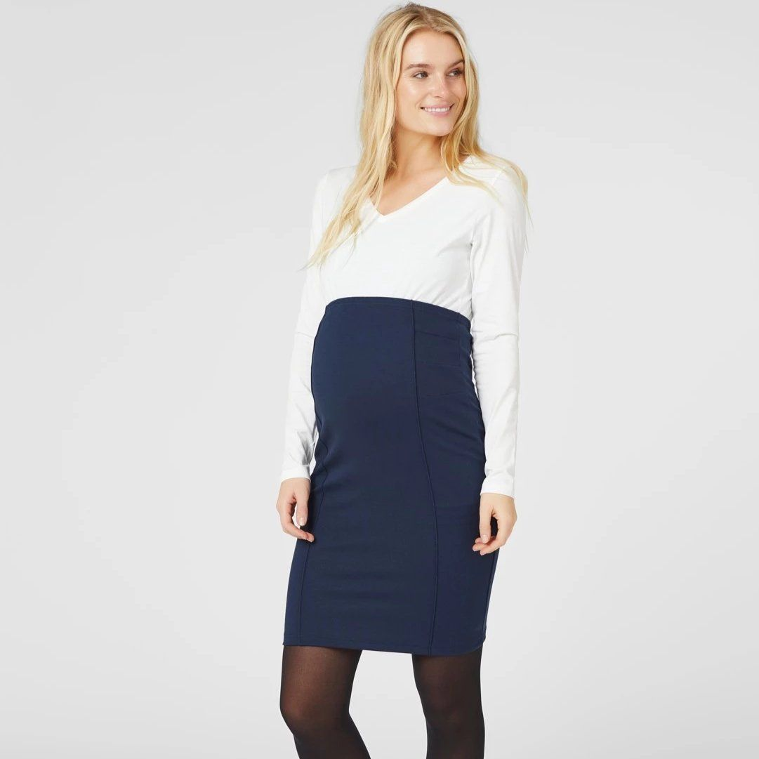 Image of   Mamalicious kort vente pencil skirt (nederdel) - Navy
