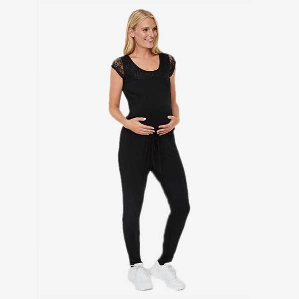 Image of   Mamalicious ventebuksedragt (jumpsuit) med cap-sleeves - Sort
