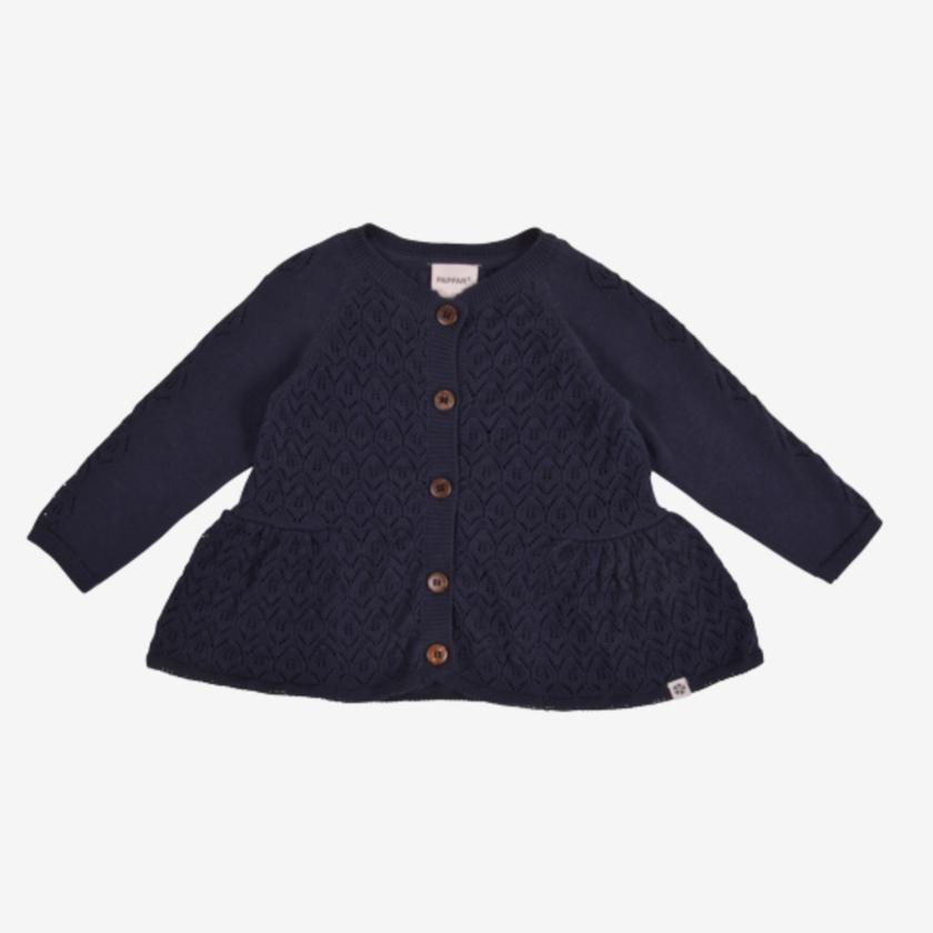 Image of   PAPFAR Strikket cardigan med mønster - Blue Nights - 50/56