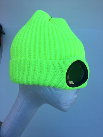 Neon Green Goggle Beanie Cap by Urban Traders
