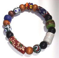 African Glass Krobo and Wood Bracelet