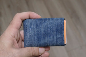Vegan Wallet made from washed denim, Minimalist Wallet, RFID Wallet, Denim Wallet, Mens Wallet, Womens Wallet - NERO Minimalist Wallet