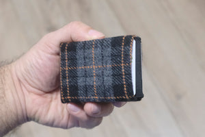 Vegan Wallet - Design Wool Fabric - NERO Minimalist Wallet