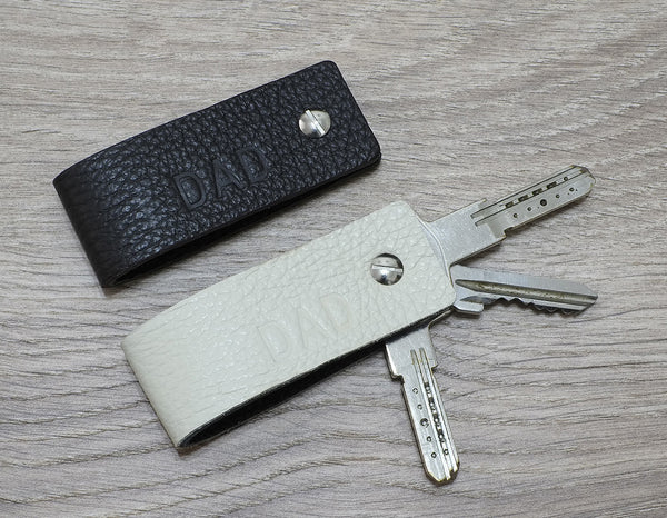 Nero Key Holder Leather Keychain - Double Face - Reversible Colors - Ultra Slim Keychain Minimalist Key Case Holder Gift for Men's and Womens - Only 10 grams - NERO Minimalist Wallet